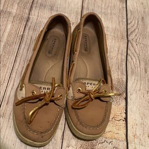 Gold and brown sperrys